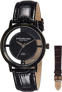 Stuhrling Original Men's Quartz Watch With Black Dial Analogue Display and Black Leather Strap 388G2.Set.04