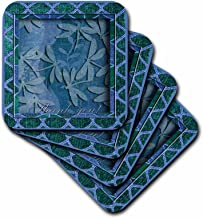 3dRose CST_18906_2 Blue Dragonflies Thank You-Soft Coasters, Set of 8