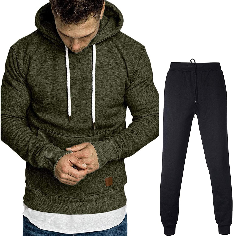 Sporthose Set KaloryWee Herren Trainingsanzug mit Sweatshirt und Eng Geschnittener Jogginghose,Bodywear Jogginganzug,Bodybuilder Kapuzenpullover und