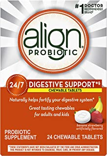 Align Probiotics Chewables, Daily Probiotic Supplement for Digestive Health, Banana Strawberry Flavor, 24 ct., #1 Recommended Probiotic Brand by Doctors