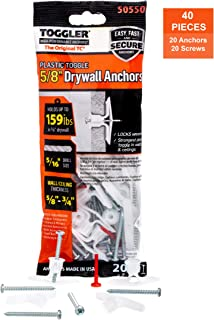 TOGGLER Toggle TC Commercial Drywall Anchor with Screws, Polypropylene, Made in US, 5/8