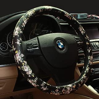 BINSHEO Anti Slip Universal 15 inch Car Steering Wheel Cover Women Girls Ladies