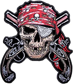 Leather Supreme Pirate Skull Eye Patch Crossed Guns Embroidered Biker Patch-Red-Large