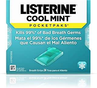 Listerine Cool Mint Pocketpaks Breath Strips, Oral Dissolving Breath Freshener Strips Kill 99% of Germs that Cause Bad Bre...