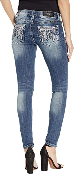 Feather Arrow Skinny Jeans in Medium Blue