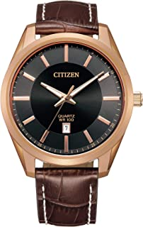 Citizen Quartz Mens Watch, Stainless Steel with Leather strap, Casual, Brown (Model: BI1033-04E)