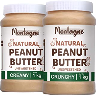 Montagne All Natural Peanut Butter Creamy 2 KG [Unsweetened] (1 KG Pack of 2)