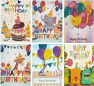 Diamond Painting Birthday Cards 6Pcs/Set 5D Creative Handmade DIY Greeting Card