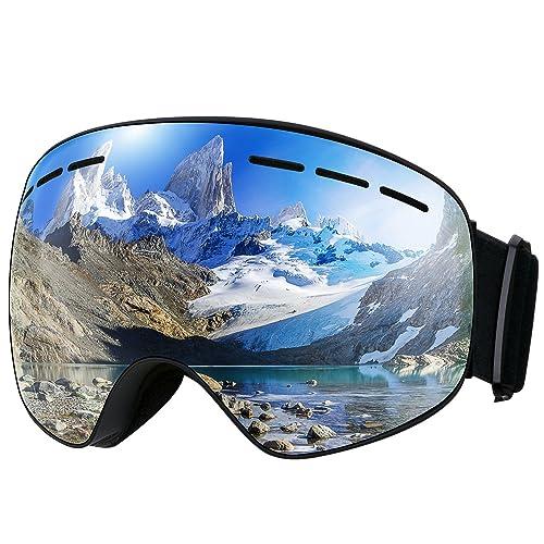 7e221000070c83 Mpow Masque de Ski Lunettes de Ski Femme et Homme Masque Snowboard Double  Grande Lentille OTG