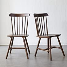 Livinia Ton Dining Chair, Solid Hardwood High Spindle Back Chair for Home Kitchen Office Restaurant Bedroom Living Room Waiting Room Apartment, Set of 2 (Walnut)