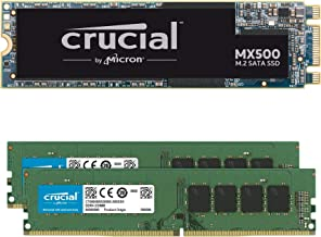 Crucial MX500 1TB M.2 SATA 6Gb SSD Bundle with Crucial 32GB (2 x 16GB) DDR4 PC4-21300 2666MHz Memory Kit Compatible with S...