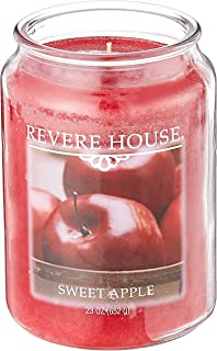 Candle-lite Revere House Scented Sweet Apple Single Wick 23oz Large Glass Jar Candle, Fruit Orchard Fragrance, 23 oz