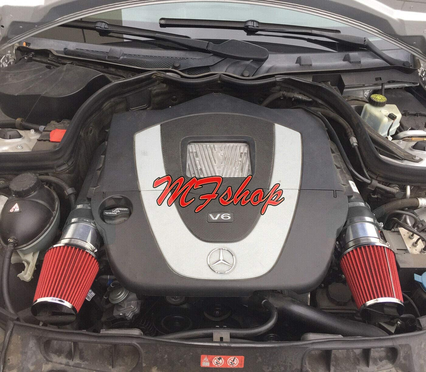 Amazon Com Air Intake Filter Kit System For 2008 2009 2010 2011 2012 Mercedes Benz C300 C350 With 3 0l 3 5l V6 Engine Black Accessories With Red Filter Automotive