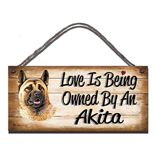 Birthday Occasion Akita Wooden Funny Sign Wall Plaque Gift Present Love is Being Owned By An