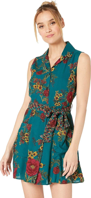 Angie Women's Button Front Tie Waist Sleeveless Shirtdress w Pockets