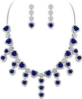 Clearine Women's Glamorous Bridal Love Heart CZ Flower Statement Necklace Dangle Earrings Set