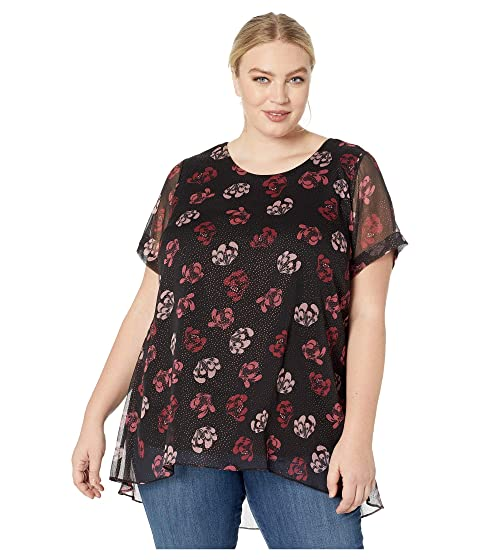57661182ec82d Vince Camuto Specialty Size Plus Size Short Sleeve Regal Stamp Floral High-Low  Blouse