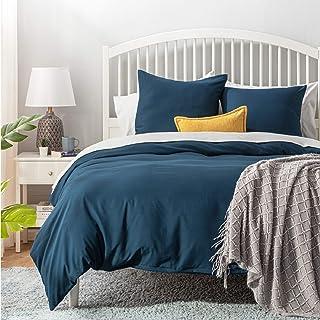Bedsure Bettwäsche 155x220 blau Mikrofaser- Bettbezug 155x220 cm 3 teilig mit Doppelpack 80x80 cm Kissenbezüge für Doppelbett weich und bügelfrei
