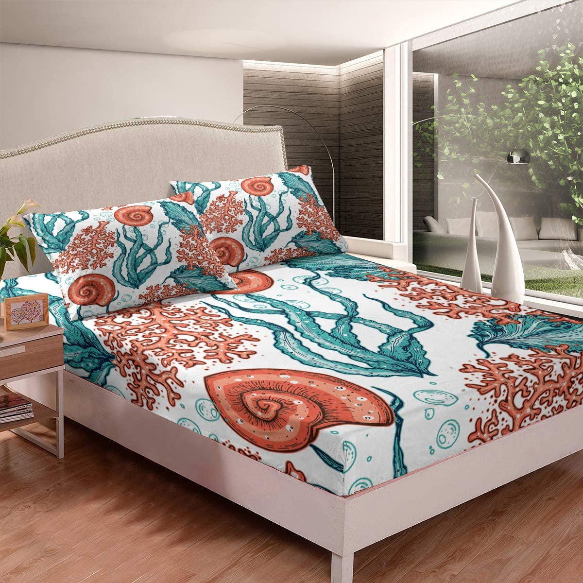 Snails Spasm price Shrubs Coral Bed Chicago Mall Fitted Sheet Brushed M Double Soft Ultra