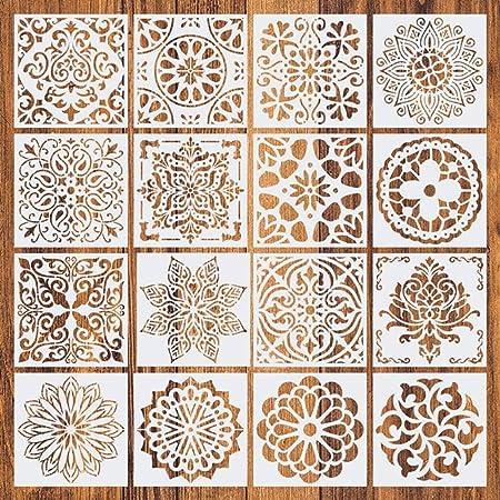 Comius Sharp Pochoir Mandala de Peinture, 16 Pièces Peinture Pochoirs, pochoirs réutilisables,Motif Mandala Découpe Laser, pour Cartes Scrapbooking Décoration Murale (Blanc) 15 x 15 cm.