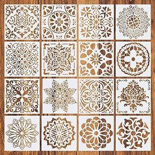 Comius Sharp Pochoir Mandala de Peinture, 16 Pièces Peinture Pochoirs, pochoirs réutilisables,Motif Mandala Découpe Laser,...