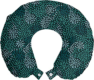 Amazon Com Lunarable Abstract Travel Pillow Neck Rest Modern Mosaic Pattern Image Of Continuous Swirl Shapes Art Print Memory Foam Traveling Accessory For Airplane And Car 12 Dark Green Seafoam And Teal Home