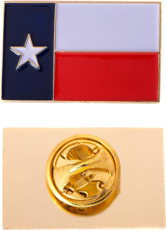 Texas TX State Flag Lapel Enamel Made of Metal Souvenir Hat Men Women Patriotic Texan (Rectangle Pin)