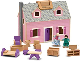 Melissa & Doug Fold & Go Mini Dollhouse (Portable Wooden Dollhouse, Working..