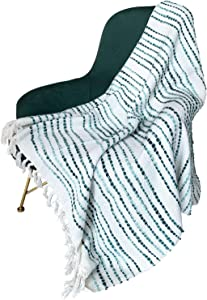"MOTINI Soft Throw Blanket Fringed Cotton Throw with Tassels 50"" W x 60"" L Throw Blanket for Sofa Chair Couch Bed (White, Green)"