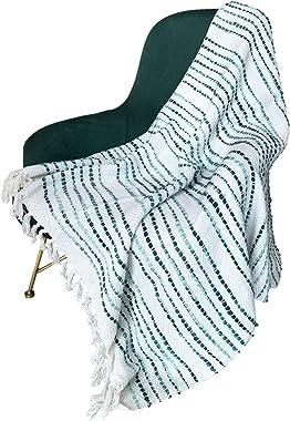 MOTINI Textured Throw Blanket Tassel Striped White and Green Hand Knit Cotton Throw Decorative Blanket Elegant Cozy Fringe So