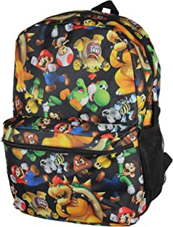 "Super Mario Bros. Backpack All Over Character Print 16"" School Bag"