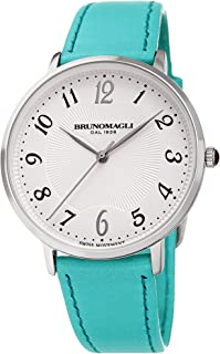 Bruno Magli Women's Roma 1221 Swiss Quartz White Dial Italian Smooth Leather Strap Watch