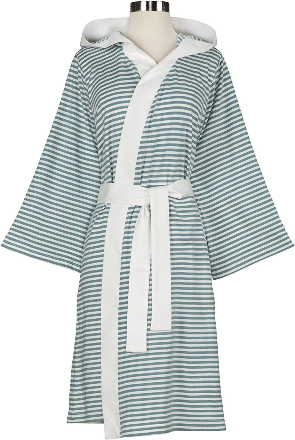 Nine Space Knee-Length Striped Jersey Knit half Robe Lar White Teal low-pricing