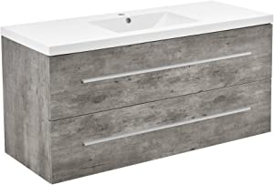[Neu.Haus] Mueble de baño Moderno - Mueble Color Cemento con Lavabo en Blanco - 2 cajones