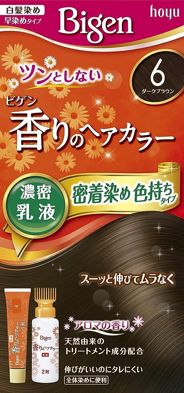 不利ルール添加剤ホーユー ビゲン香りのヘアカラー乳液6 (ダークブラウン) 40g+60mL ×6個