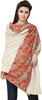 Exotic India Oyster-White Pure Pashmina Handloom Shawl from Kashmir - Off-White