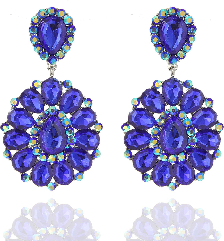 SP Sophia Collection Women's Bohemian Crystal Teardrop Dangle Clip On Earrings