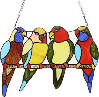 Bieye W10001 Tropical Birds Tiffany Style Stained Glass Window Panel with Chain, 14.5-inch Wide (4 Parrots)