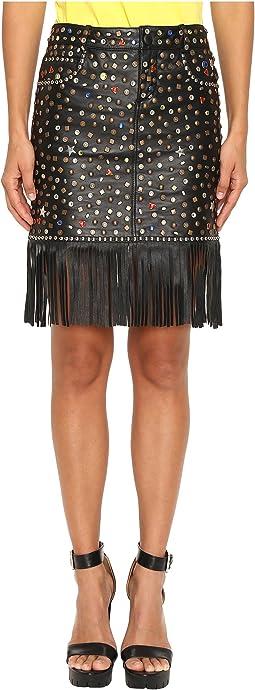 Studded Leather Fringe Skirt