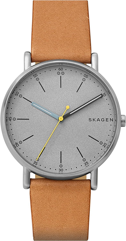 Skagen Reloj Analógico para Hombre de Cuarzo con Correa en Cuero SKW6373