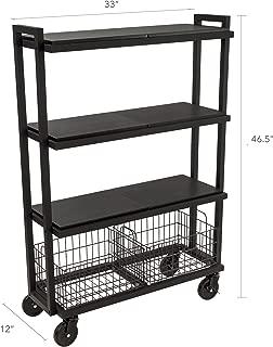 Atlantic Cart System 4 Tier Cart - Wide Mobile Storage, Interchange Shelves and Baskets, Powder-Coated Steel Frame PN23350332 in Black