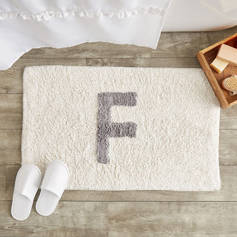 Juvale Monogram Sales Letter F Bath Mat Store Grey White and Rug Bathroom