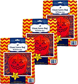 Set of 3 Giant Halloween Orange Pumpkin Lawn Bags with Twist Ties 45