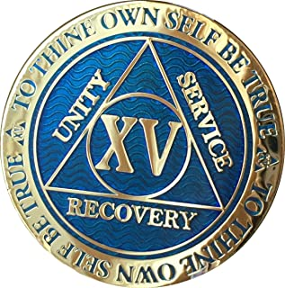 Recoverychip 15 Year Reflex Blue Gold Plated AA Medallion Alcoholics Anonymous Chip