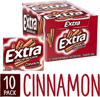 Extra Cinnamon Sugarfree Gum, 15 Count (Pack of 10) piece