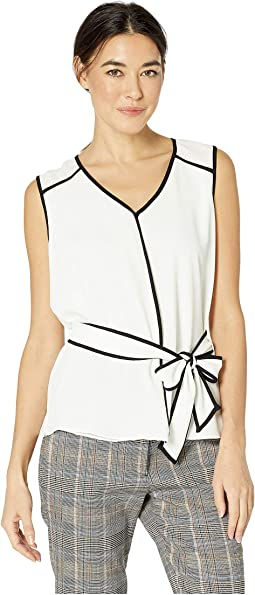 Sleeveless Contrast Piping Belted Texture Blouse