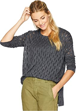 Distressed Sweater Knit Boxy Drop Shoulder Sweater