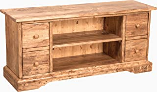 Country-Style Solid Lime Wood Natural Finish W129XDP40XH60 cm Sized TV Stand Cabinet. Made in Italy