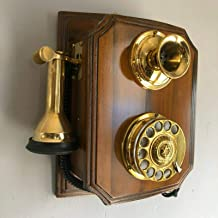 Reproduction Wooden Retro Telephone Rotary Dial Mechanical Bell Wall Mount (Model A) photo
