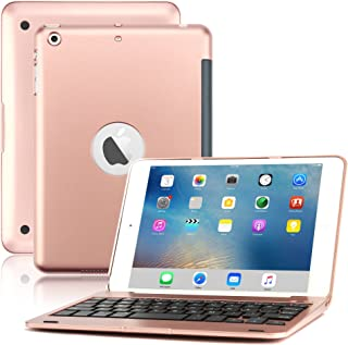 iPad Mini Keyboard Case, BoriYuan Bluetooth Wireless Keyboard Folio Flip Smart Cover for Apple iPad Mini 3/ Mini 2/ Mini 1 with Folding Stand and Auto Sleep/Wake Function (Rose Gold)